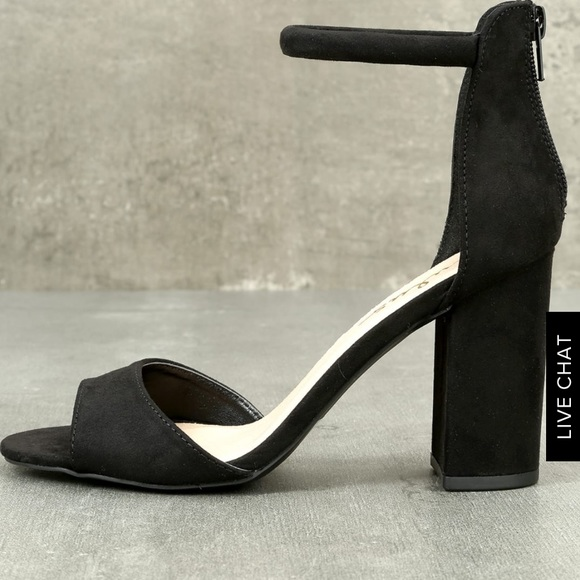 Lulu's Shoes - Black Suede Ankle Strap Heel